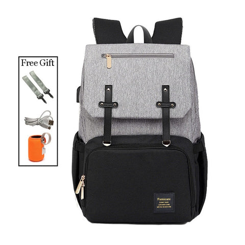 2019 Diaper Bag Mummy Daddy Backpack Baby Stroller Bag Waterproof Oxford Handbag Nursing Nappy Bag Kits USB Rechargeable Holder