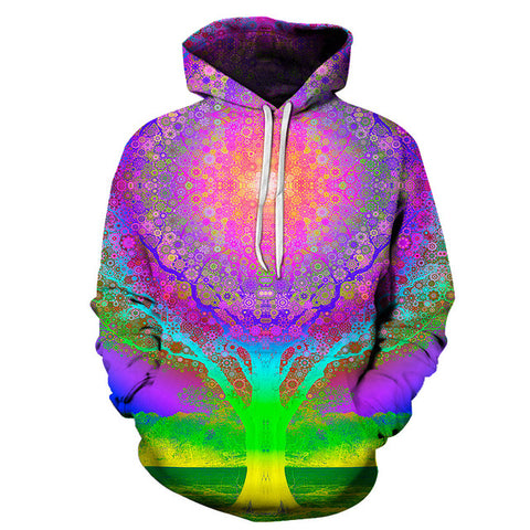 Colorful 3D Tree of Life Pullover Hoodie