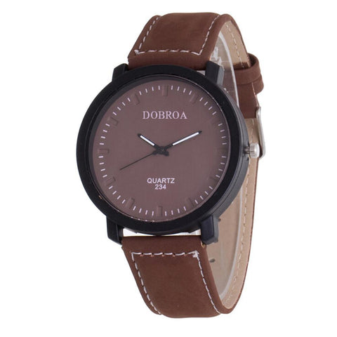Leather Military Analog Watch