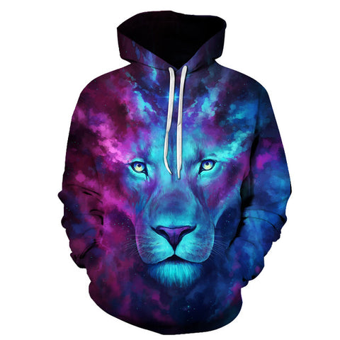 JoJoesArt 3D Purple and Blue Lion Hoodie