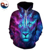 Image of JoJoesArt 3D Purple and Blue Lion Hoodie