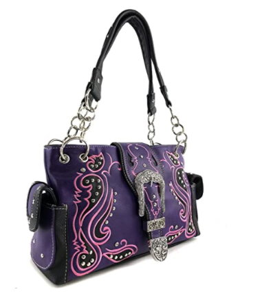 Western Purple Purse Floral Buckle Concealed Carry Handbag