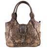 Image of Western Brown Purse Floral Buckle Concealed Carry Handbag