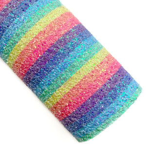 Muted Rainbow Stripes Iridescent Chunky Glitter