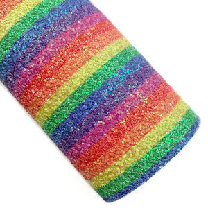 Primary Rainbow Stripes Iridescent Chunky Glitter