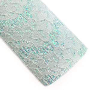 Spearmint Darling Lace Overlay Glitter