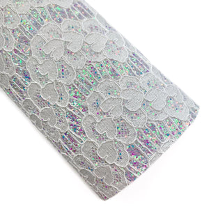 Grey Darling Lace Overlay Glitter