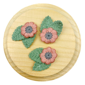 Set of 3 Pink Crochet Flower Appliques