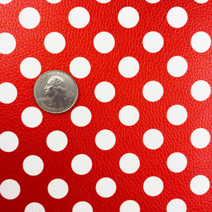 Red Large Polka Dots Vegan Leather