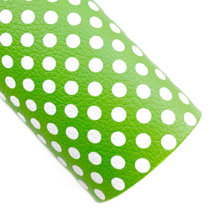 Green Polka Dots Vegan Leather
