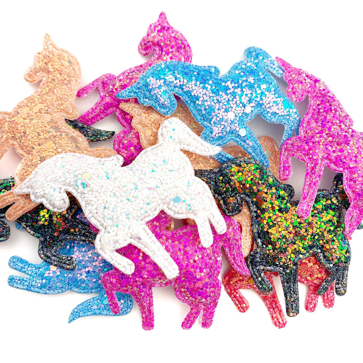 Set of 3 Glittered Unicorn Appliques