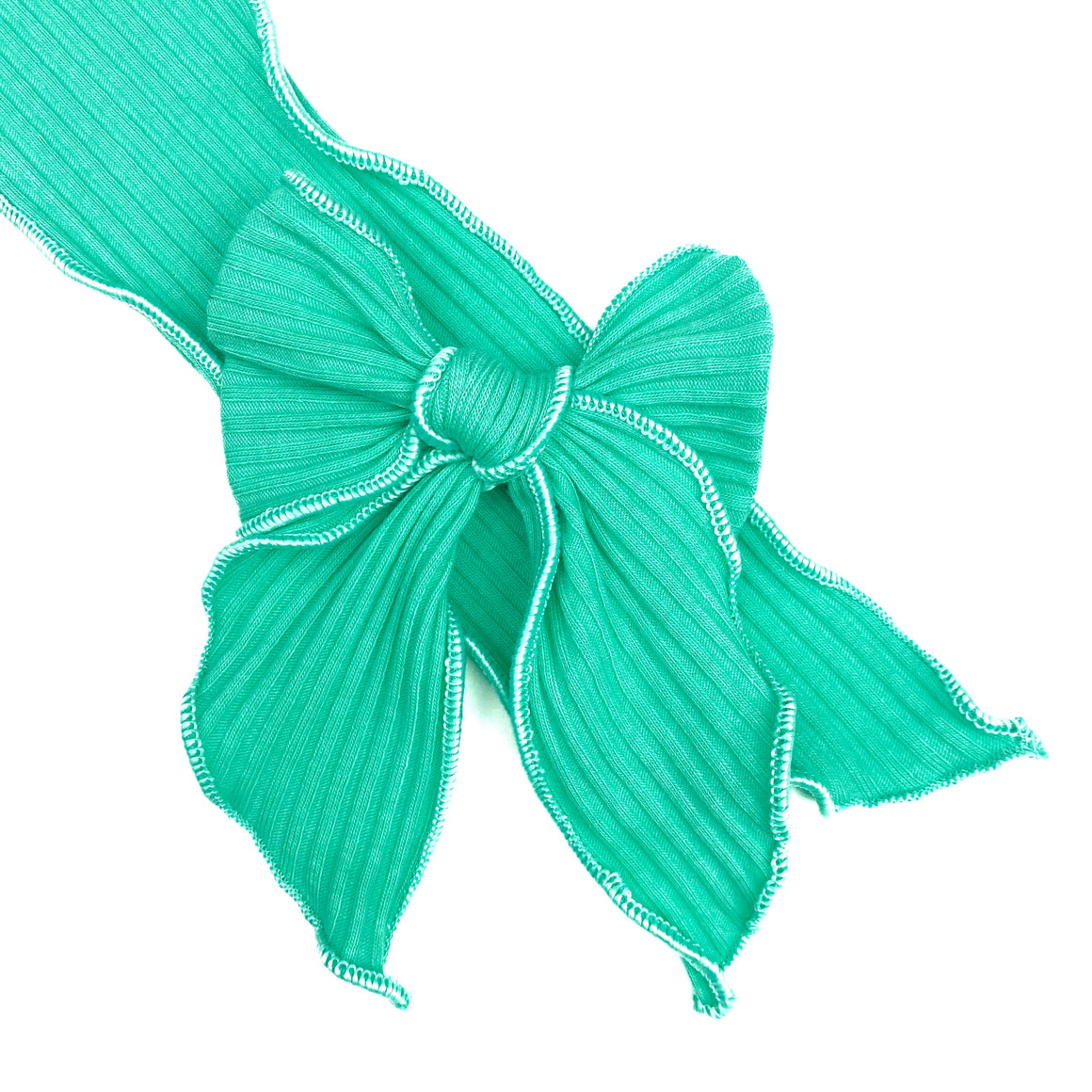 Green Turquoise Rib Knit JB Effortless Bow Strips - Serged Edge