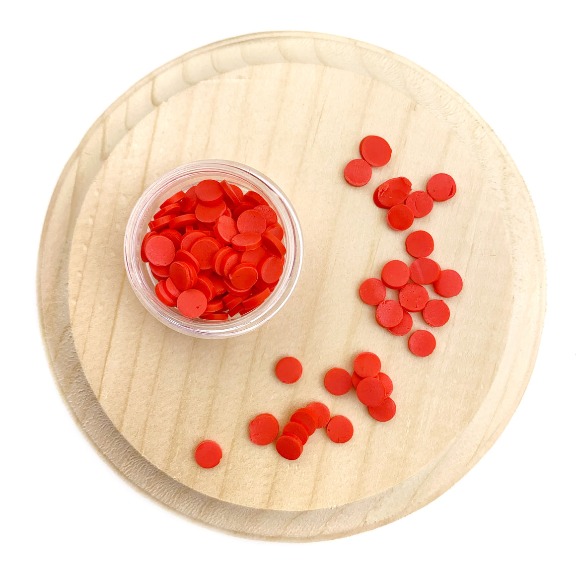Red Round Sprinkles Polymer Clay Pieces