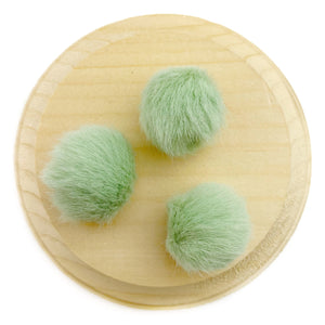 Set of 3 Green Tea Faux Fur Pom Poms