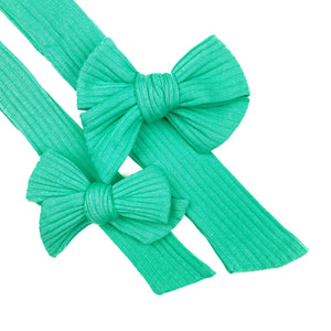 Green Turquoise Rib Knit JB Effortless Bow Strips - Closed Edge
