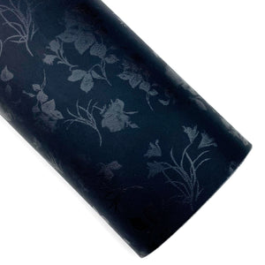 Onyx Floral Satin Vegan Leather