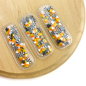 Halloween Candy Corn Mix Shaker Snap Clip Covers