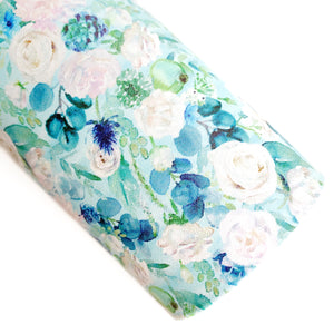 Minty Fresh Cut Floral Vegan Leather