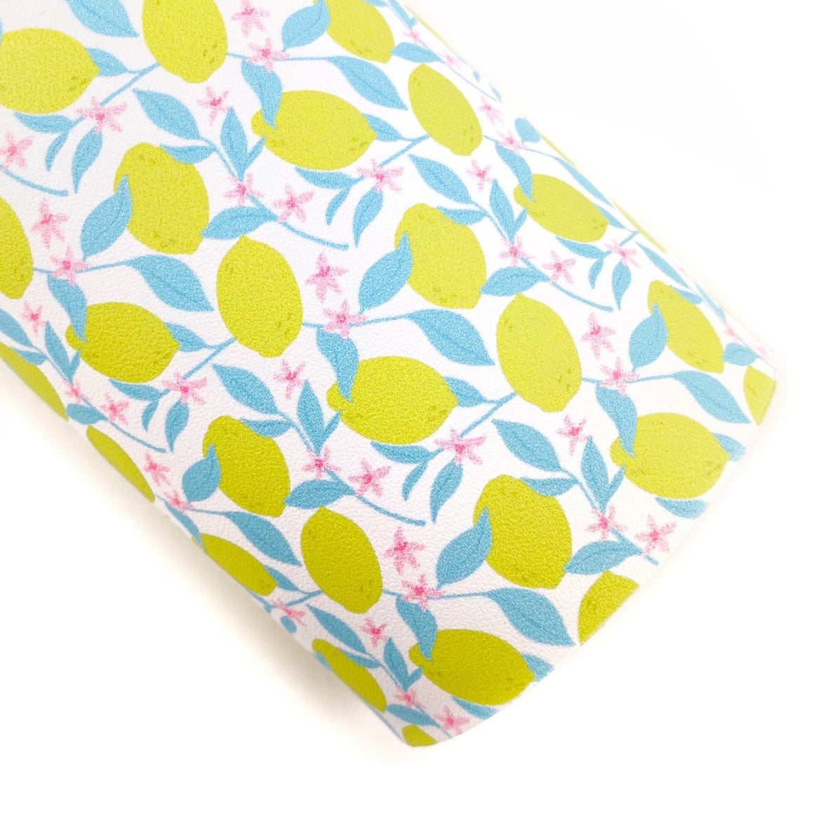 Colorful Lemon Floral Vegan Leather