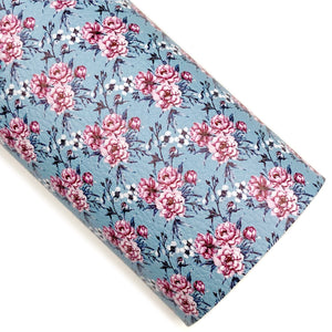 Country Blue Vintage Garden Roses Vegan Leather