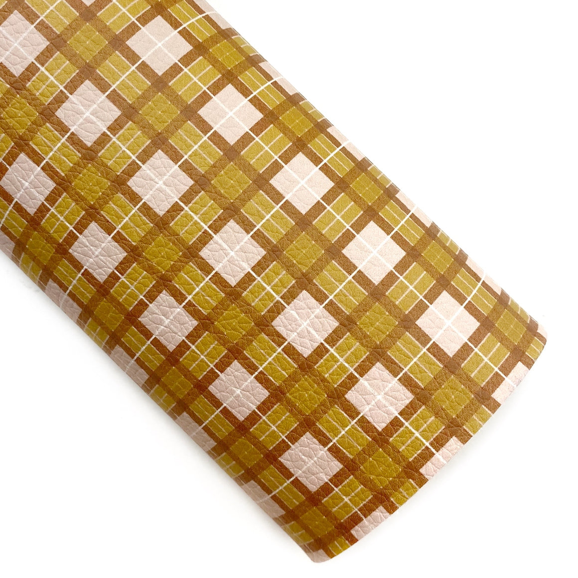 Honey Butter Tartan Plaid Vegan Leather