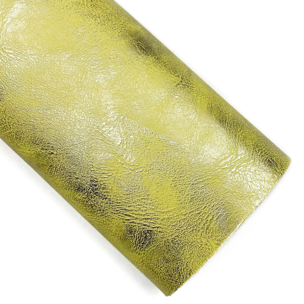 Yellow Aged Brushed Metallic Vegan Leather