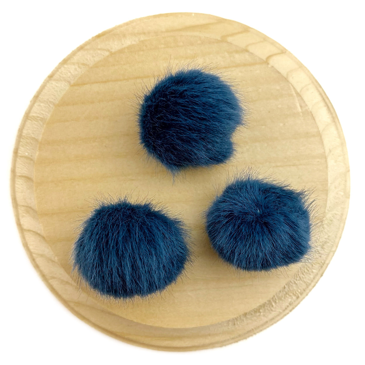 Set of 3 Navy Faux Fur Pom Poms