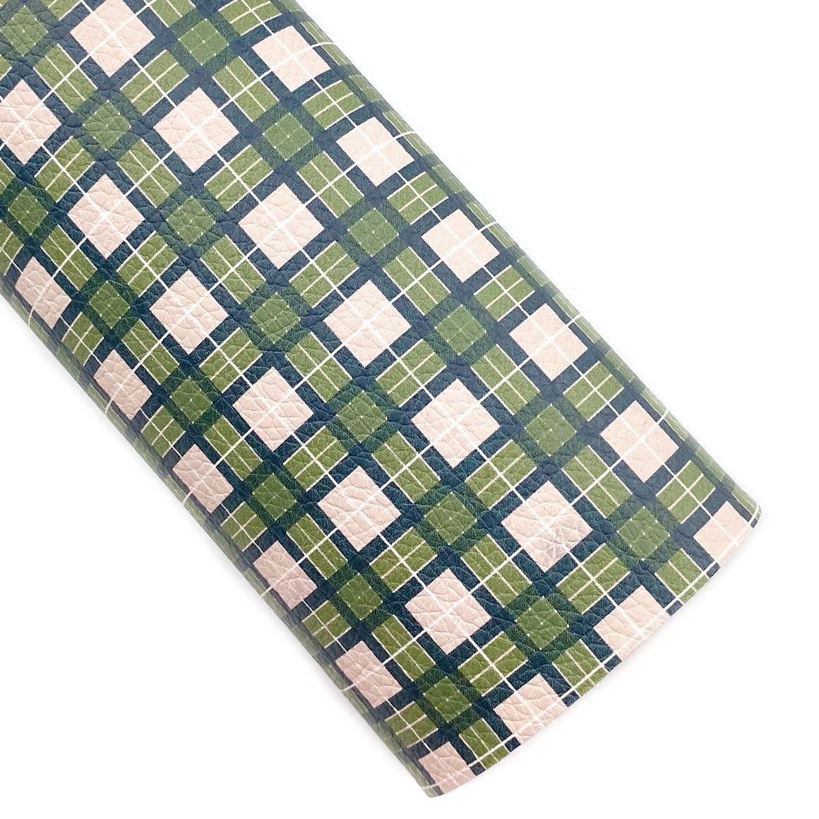Ever Olive Tartan Plaid Vegan Leather
