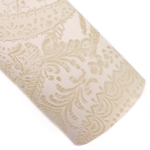 Cream Applique Lace Embossed Vegan Leather