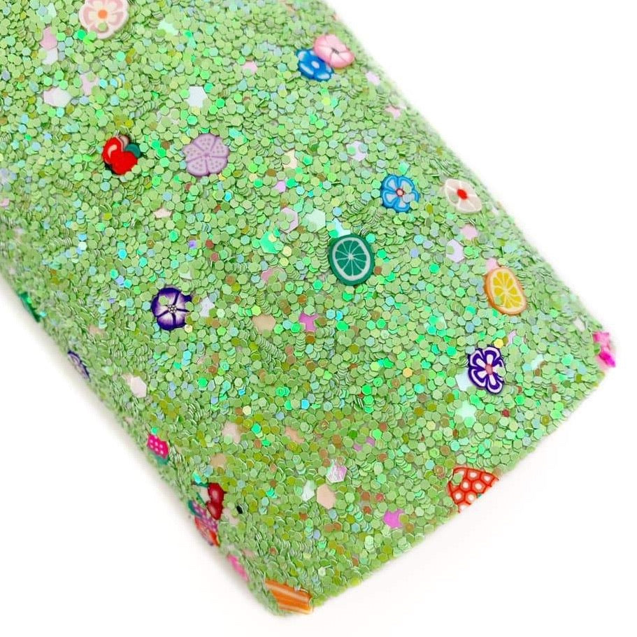 Green Sprinkle of Fruit & Flowers Chunky Glitter