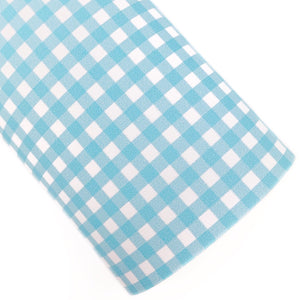 Sky Blue Gingham Vegan Leather