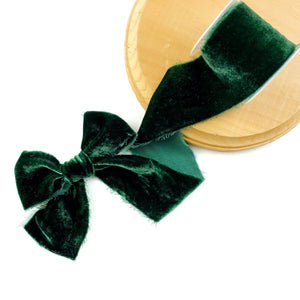 Evergreen Raw Edge Silk Velvet Ribbon