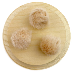 Set of 3 Fawn Faux Fur Pom Poms