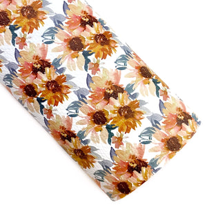 White Vintage Sunflowers Vegan Leather