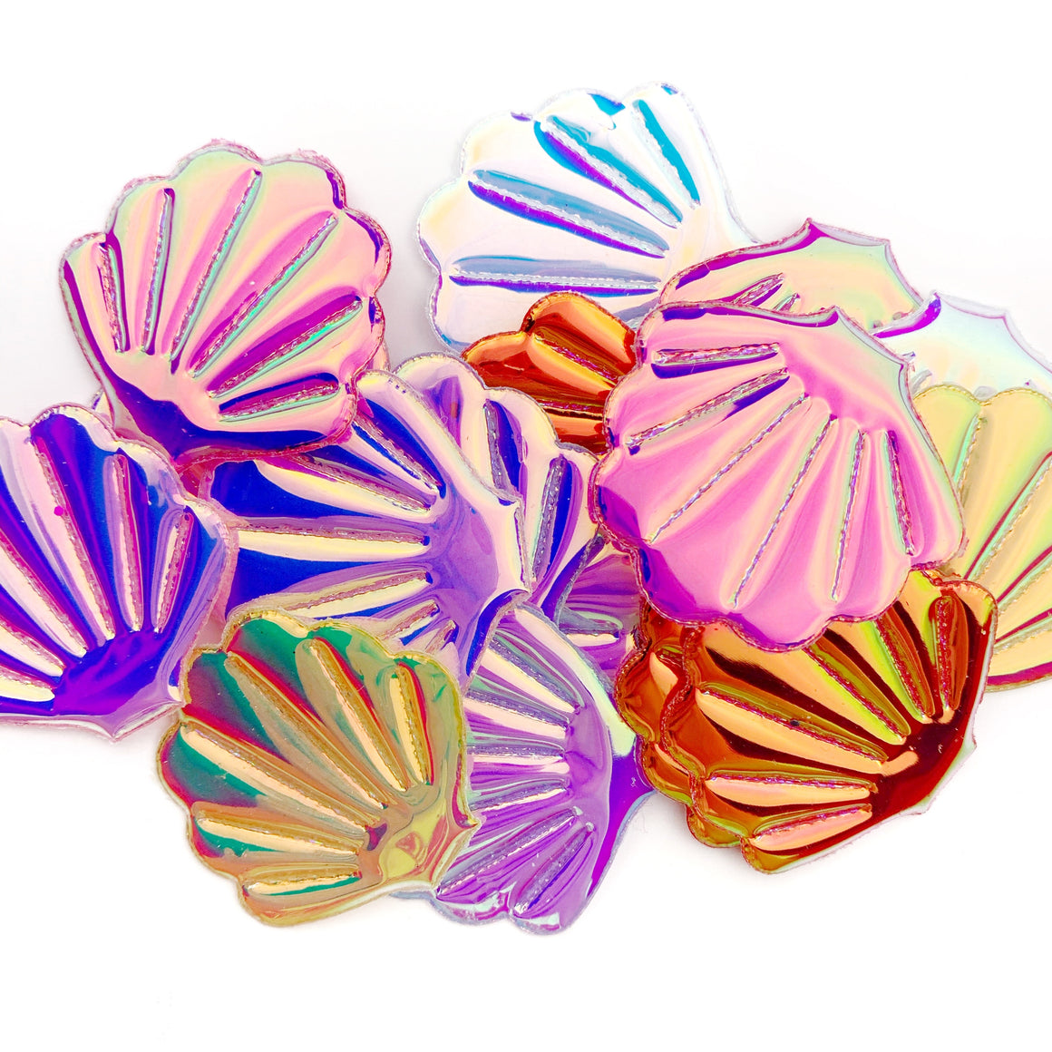Set of 3  Two-Tone Patent Seashell Appliques