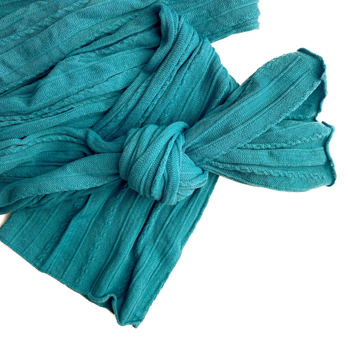 Teal Braid Knit Nylon Material