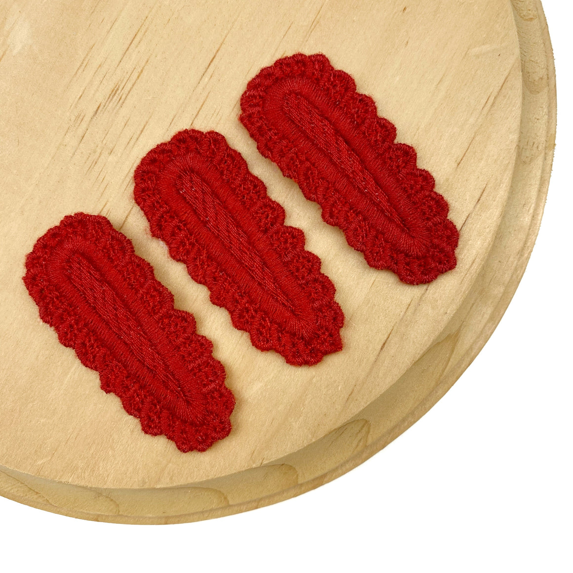 Set of 3 Red Crochet Snap Clip Covers
