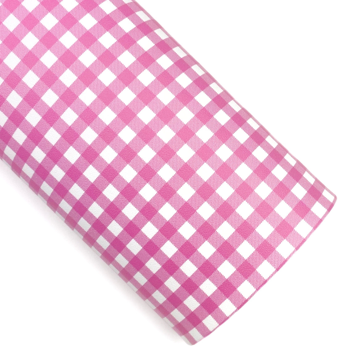 Pink Gingham Vegan Leather