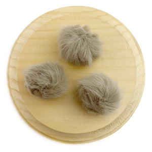 Set of 3 Taupe Faux Fur Pom Poms