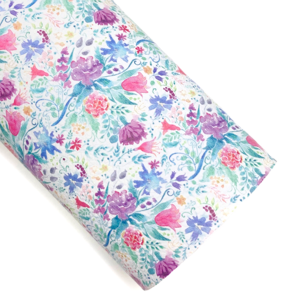 Watercolor Whimsical Floral Vegan Leather