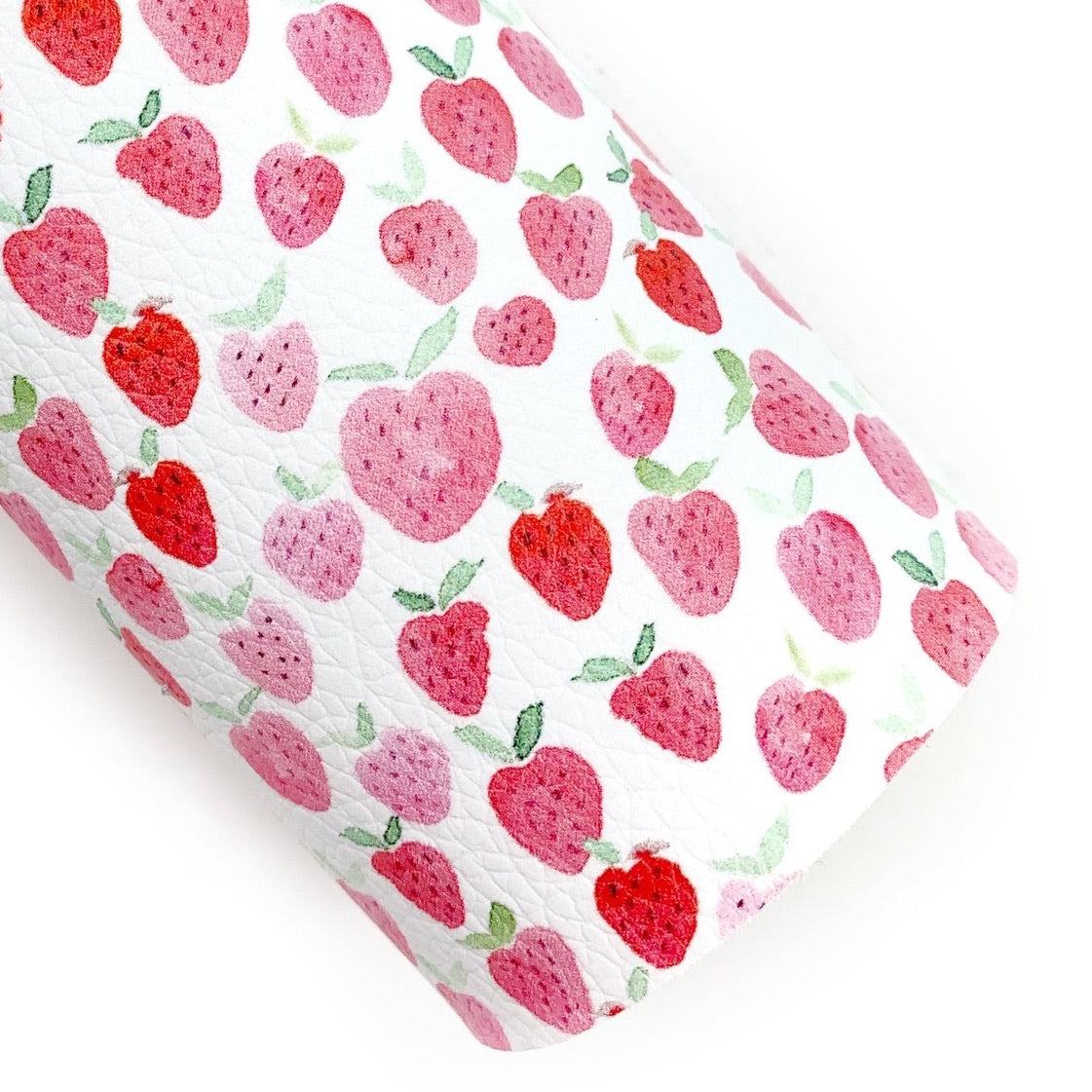 Lovely Watercolor Strawberries Pebbled Custom Print