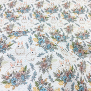 White Vintage Bunnies Bullet Fabric