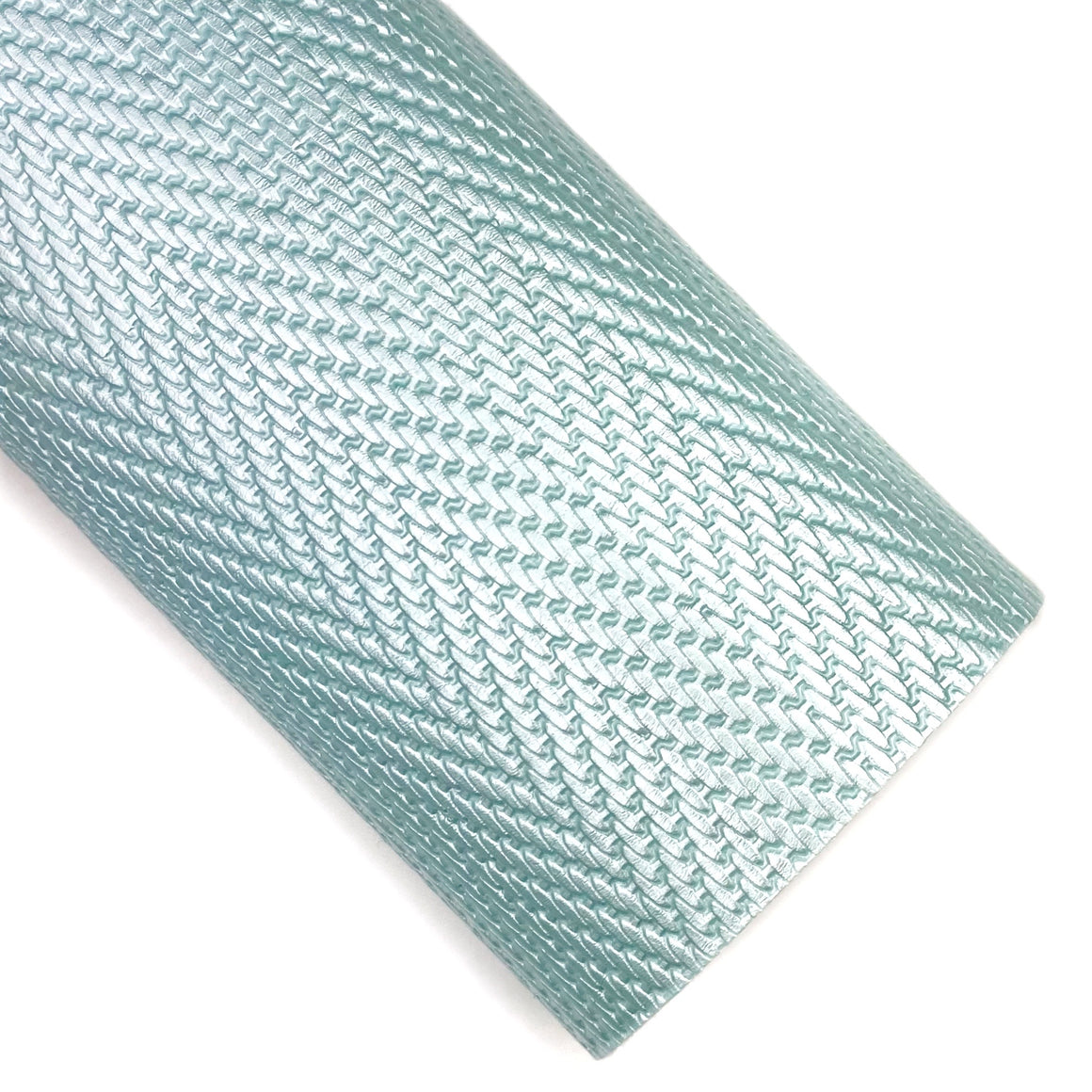 Light Blue Herringbone Embossed Patent Vegan Leather