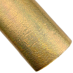 Gold Disco Holographic Embossed Vegan Leather