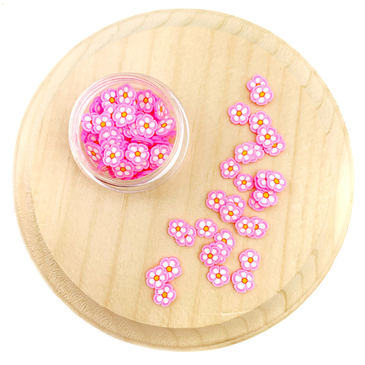 Pink Flower Polymer Clay Pieces