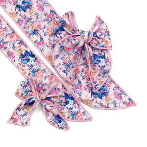Pink Floral Essence JB Effortless Bow Strips - Serged Edge