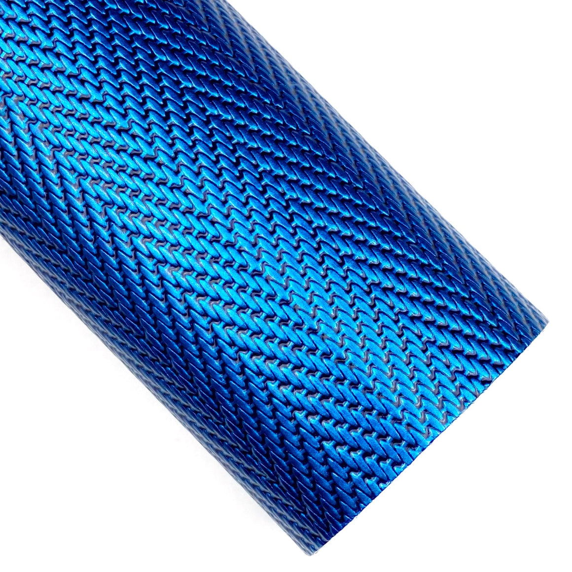 Blue Herringbone Embossed Patent Vegan Leather