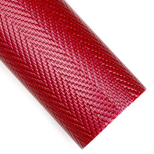 Red Herringbone Embossed Patent Vegan Leather