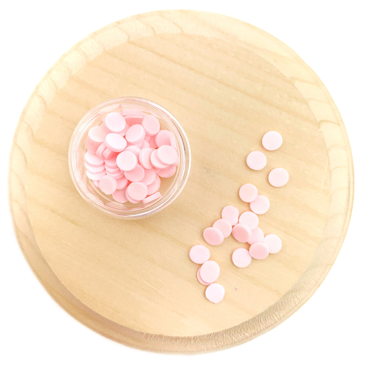 Pink Round Sprinkles Polymer Clay Pieces