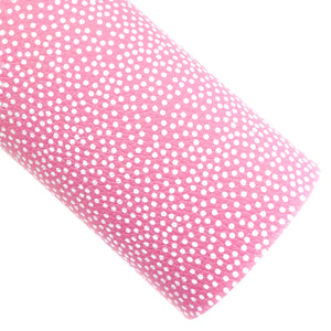 Pink Scattered Dots Vegan Leather